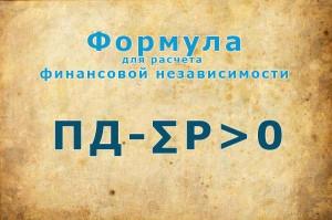 Формула для расчета финансовой независимости