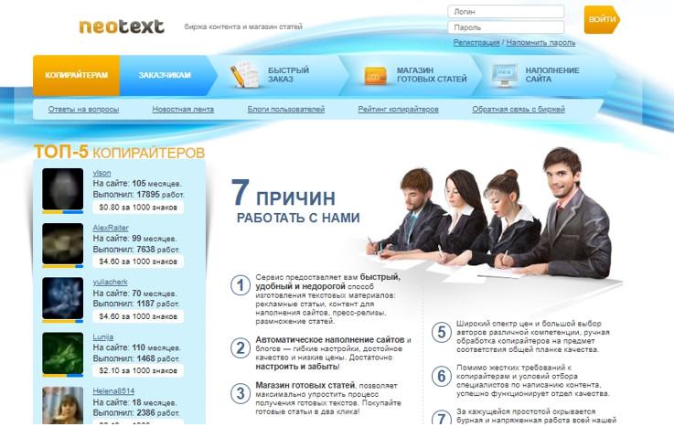 Биржа текстов NeoText